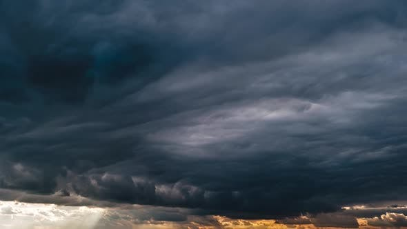 Majestic Amazing Time Lapse of Storm Cumulus Clouds Moves in the Sky at Sunset