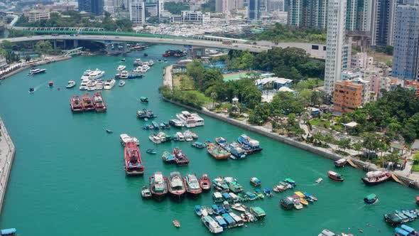 Thumbnail for Top view of Hong Kong fishing harbor port