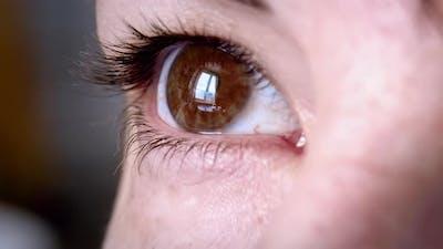 Woman Eye Looks Out the Window Macro Shot Female Brown Eye Cinematic