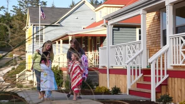 Thumbnail for People walking in coastal community