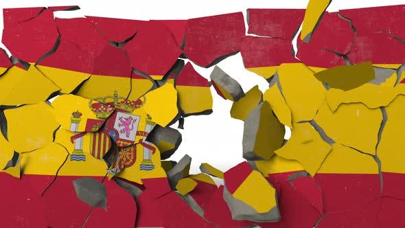 Thumbnail for Breaking Wall with Painted Flag of Spain