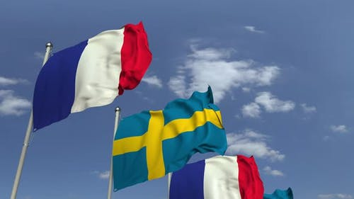 Many Flags of Sweden and France
