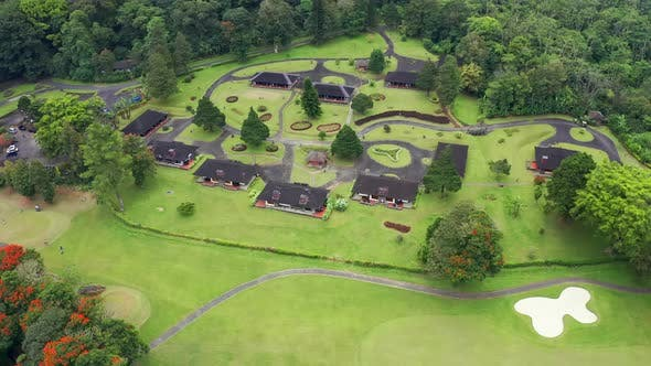 Thumbnail for Luxury Golf Club in Tropical Mountains on the Island of Bali, Bedugul, Indonesia. Aerial Top View .