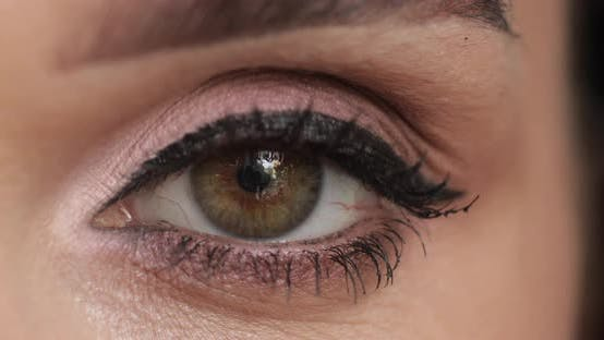 Thumbnail for Cropped Footage of Attractive Young Woman with Artificial Eyelashes Smiling