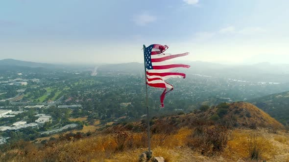 Thumbnail for Slow-motion Video of the Patriotic American Flag Fluttering in the Wind