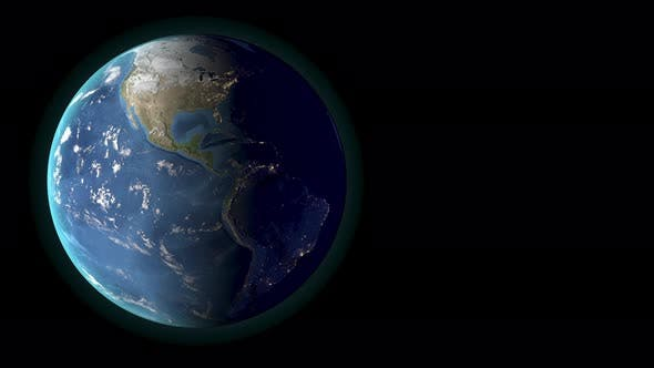 Planet earth rotating, day and night. America view. 3d Render