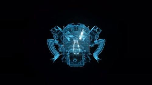 Blue Muscle Car Engine Hud Hologram 4k