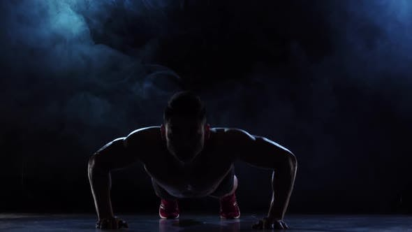 Thumbnail for Silhouette Bodybuilder Push Ups, Black Background Slow Motion