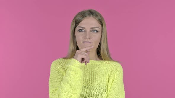 Thumbnail for Thoughtful Young Girl Excited About Idea, Pink Background