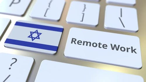 Remote Work Text and Flag of Israel on the Computer Keyboard