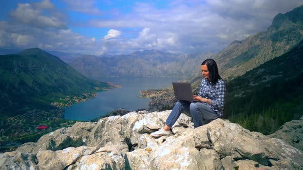 Thumbnail for Girl Using Laptop Mountain Landscape in Summer