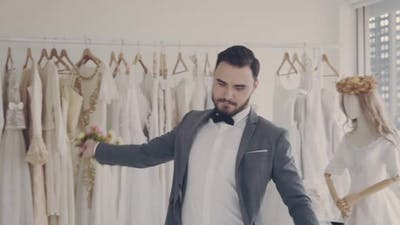 Funny Groom Man Wearing Wedding Clothes Dance in Dressing Room