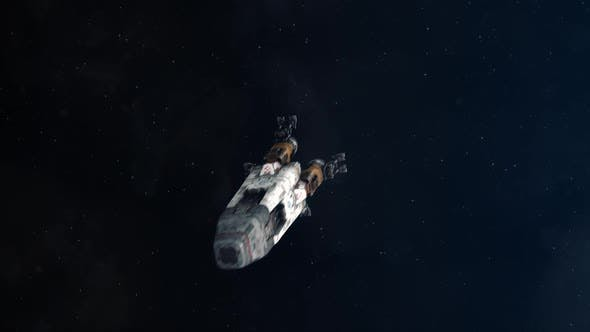 Space Rocket Traveling Through Outer Space