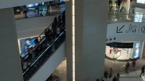 Thumbnail for Time Lapse View of People Pedestrian Traffic on the Escalator in the Big Multi-level Shopping Mall