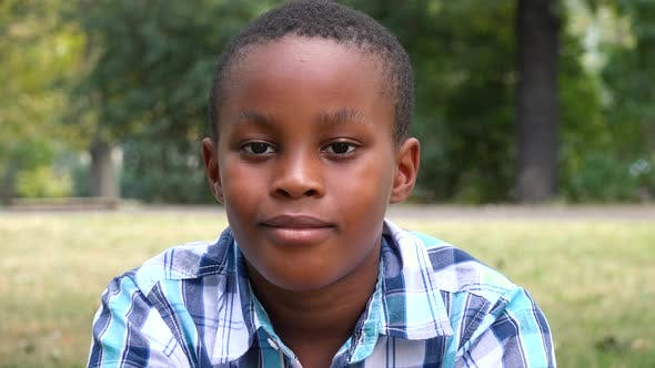 Thumbnail for A Young  Black Boy Sits on Grass in a Park and Smiles at the Camera - Face Closeup
