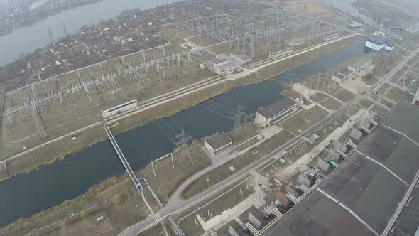 Electric facilities on power plant area, aerial view