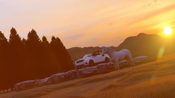 Thumbnail for White Luxury Off-Road Vehicle and Horses Standing in Mountainous Area with Sunset View