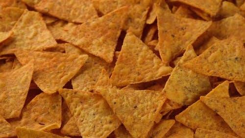 Tortilla Chips top view. Snack Crunchy Tortilla Chips