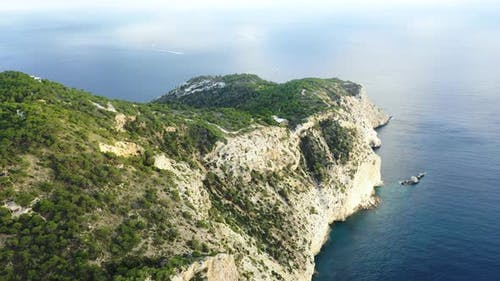 A Bird's-eye View of the Western Cape of Ibiza Island During Sunset
