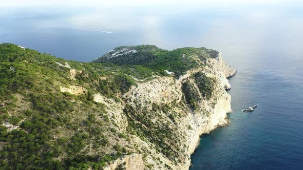 Thumbnail for A Bird's-eye View of the Western Cape of Ibiza Island During Sunset