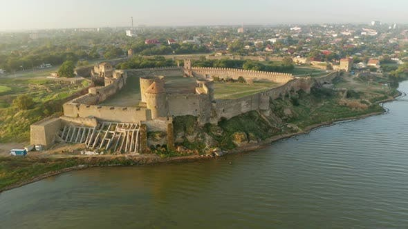 Thumbnail for Aerial View of the Old Fortress in Belgorod-Dniester at Sunrise, Ukraine