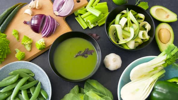 Thumbnail for Green Cream Soup in Bowl and Vegetables