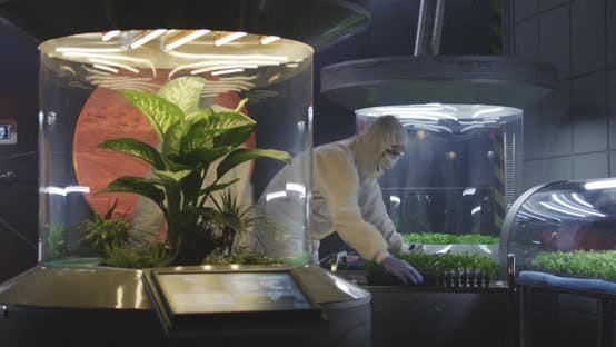 Biologists Working in a Lab on a Mars Base