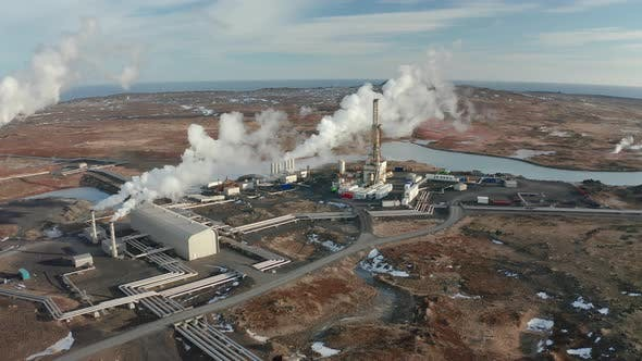 Thumbnail for A Bird's-eye View of a Plant Producing Clean Energy Using Geothermal Sources, Iceland, Winter 2019