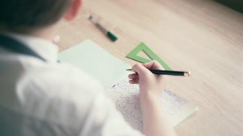 CU Boy Do School Homework Writes a Ballpoint Pen in a Notebook 1