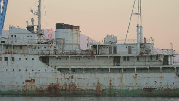 A shipwreck in a port