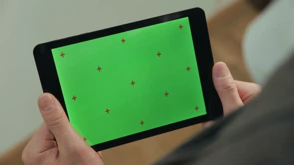 Thumbnail for Male Finger Typing on Tablet Green Screen. Man Texting on Tablet Chroma Key