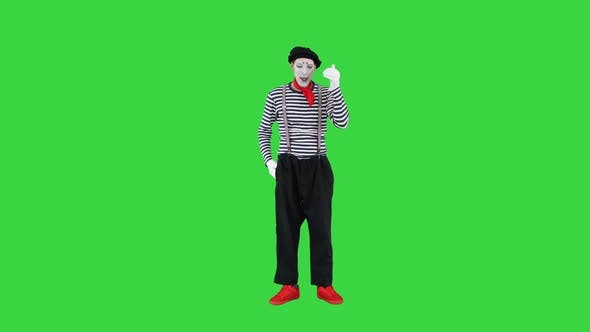 Mime Talking on Imaginary Phone on a Green Screen Chroma Key