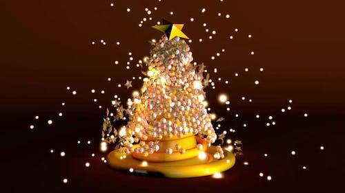 Animation of a swirling Christmas tree