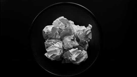 Paper crumple stop motion.