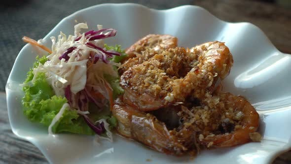 Thumbnail for Fried Prawns or Shrimp Rotate. Food Background.