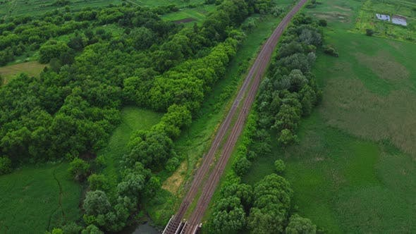 Thumbnail for Aerial View Railway Tracks In Nature