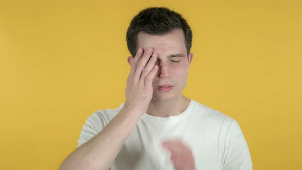 Cover Image for Man with Headache, Yellow Background