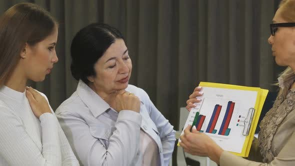 Thumbnail for Businesswoman Explaining Diagrams To Her Colleagues