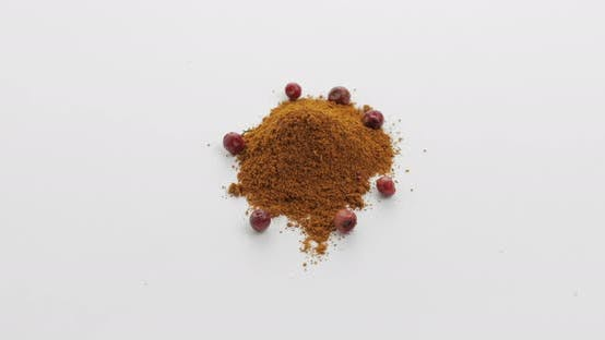 Thumbnail for Red Pepper Powder Rotation. Macro Shot Against a White Background