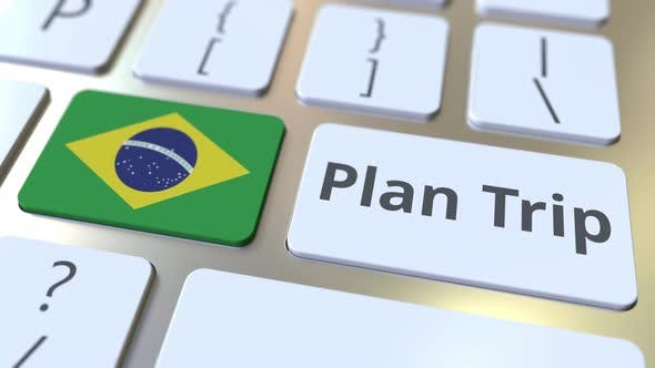 Thumbnail for PLAN TRIP Text and Flag of Brazil on the Keys