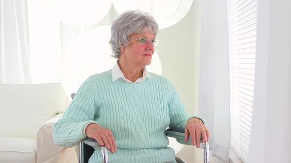 Thumbnail for Mature Caucasian woman in a wheelchair