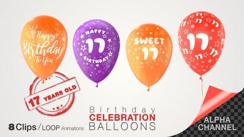 Ballons de fête du 17e anniversaire/17 ans
