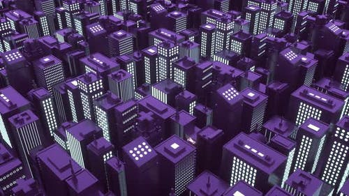 Isometric Futuristic City with Skyscrapers