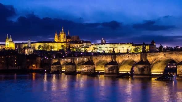 Thumbnail for Charles Bridge, Prague Castle and Vltava River in Prague, Day To Night Transition Timelapse, Czech