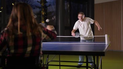 People with Disabilities During Ping-pong Game