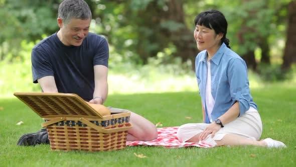 Thumbnail for Reifen asiatische paar mit ein Picknick zusammen