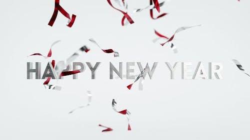 Happy New Year Falling Confetti Seasons Greetings Animation Fun Card Background