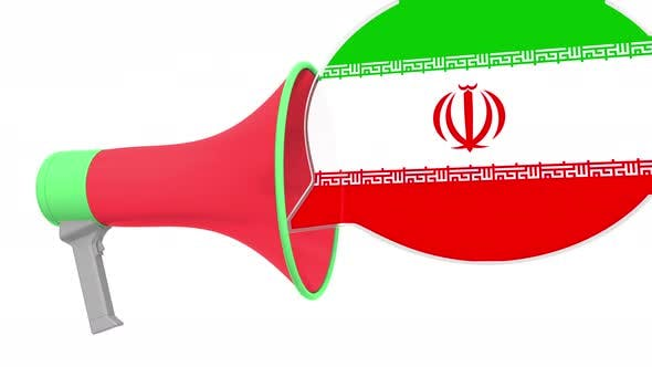Loudspeaker and Flag of Iran on the Speech Bubble