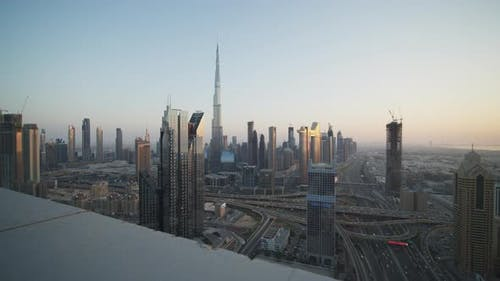 Tall Modern Glass Skyscrapers in Urban City Center of Dubai During Sunset