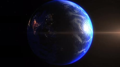 Realistic Earth Zoom In Night Lights Clouds India